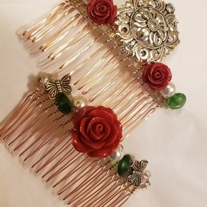 Two Mexican Style Vintage Style Haircombs